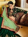 picture of Festive Special Embroidery Work On Art Silk Designer Saree In Dark Green With Party Wear Blouse