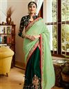 image of Festive Special Embroidery Work On Art Silk Designer Saree In Dark Green With Party Wear Blouse