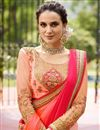 photo of Embroidery Work On Art Silk Saree With Beautiful Blouse Designs In Pink