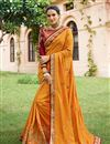 image of Art Silk Embroidered Party Wear Saree In Mustard With Designer Blouse