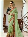 image of Festive Special Art Silk Embroidered Party Wear Sea Green Saree With Enigmatic Blouse Designs