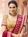 picture of Crimson Color Fancy Fabric Sangeet Wear Saree With Embroidery Work And Blouse