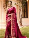 image of Festive Special Crimson Color Fancy Fabric Sangeet Wear Saree With Embroidery Work And Blouse
