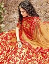 photo of Cream Color Embroidered Wedding Wear Silk Fabric Designer Lehenga Choli