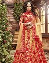 image of Cream Color Embroidered Wedding Wear Silk Fabric Designer Lehenga Choli