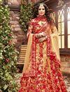 image of Cream Color Embroidered Wedding Wear Silk Fabric Designer Lehenga Choli