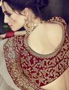 photo of Velvet Fabric Designer Embroidered Lehenga Choli In Red Color With Alluring Blouse