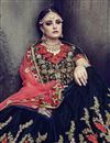photo of Navy Blue Color Sangeet Wear Lehenga With Embroidery Work In Velvet Fabric