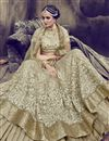 photo of Embroidery Work On Wedding Wear Bridal Lehenga In Art Silk Fabric Dark Beige Color With Blouse