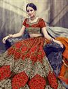 photo of Embroidery Work On Orange Color Designer Lehenga In Velvet Fabric With Blouse