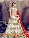 image of Art Silk Fabric Off White Color Fancy Embroidery Work Reception Wear 3 Piece Lehenga Choli