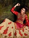 picture of Function Wear Designer Beige Georgette Fabric 3 Piece Lehenga With Embroidery Work