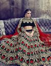 picture of Black Color Designer Velvet Fabric Function Wear Lehenga With Embroidery Work