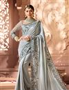 image of Wedding Function Wear Art Silk Fabric Embroidered Saree With Heavy Blouse