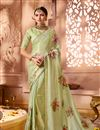 image of Sangeet Wear Embellished Saree In Satin And Georgette Fabric With Heavy Blouse