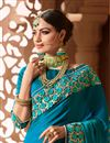 photo of Wedding Wear Art Silk Fabric Sky Blue Designer Saree With Embroidered Blouse