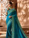 image of Wedding Wear Art Silk Fabric Sky Blue Designer Saree With Embroidered Blouse