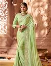 image of Function Wear Green Satin Silk Fabric Designer Saree With Embroidered Blouse