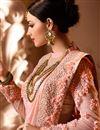 photo of Designer Wedding Function Wear Peach Satin Silk Fabric With Heavy Blouse