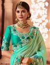 photo of Function Wear Cyan Georgette And Silk Fabric Designer Saree With Embroidered Blouse