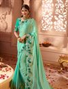 image of Function Wear Cyan Georgette And Silk Fabric Designer Saree With Embroidered Blouse