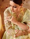 photo of Beige Designer Wedding Function Wear Satin And Georgette Fabric With Heavy Blouse