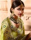photo of Green Designer Wedding Function Wear Satin Silk Fabric With Heavy Blouse