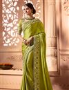 image of Wedding Function Wear Satin Silk Fabric Embroidered Saree With Heavy Blouse