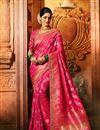 image of Weaving Work On Reception Wear Saree In Art Silk Fabric Rani Color With Charming Blouse
