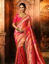 image of Art Silk Fabric Designer Weaving Work Saree In Pink Color With Attractive Blouse