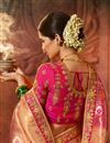 photo of Salmon Color Art Silk Fabric Wedding Wear Saree With Weaving Work And Gorgeous Blouse