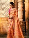 image of Art Silk Fabric Salmon Color Weaving Work Designer Saree With Designer Blouse