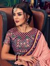 photo of Party Wear Art Silk Pink Saree With Embroidered Blouse