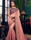 image of Party Wear Art Silk Pink Saree With Embroidered Blouse
