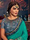 photo of Fancy Party Wear Cyan Saree With Embroidered Blouse In Art Silk