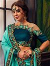 photo of Art Silk Party Style Saree With Embroidered Blouse In Cyan