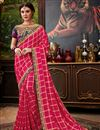 image of Party Wear Rani Color Art Silk Saree With Embroidered Blouse