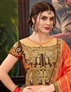 photo of Party Style Art Silk Orange Saree With Embroidered Blouse