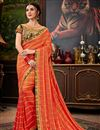 image of Party Style Art Silk Orange Saree With Embroidered Blouse