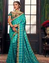 image of Fancy Party Wear Art Silk Saree With Embroidered Blouse In Sky Blue