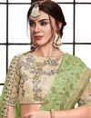 photo of Art Silk Party Wear Sea Green Saree With Embroidered Blouse