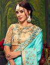 photo of Sky Blue Party Style Saree With Embroidered Blouse In Art Silk