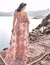 photo of Designer Pink Wedding Function Wear Net Fabric Embroidered Saree