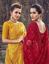 photo of Mustard Designer Net Fabric Wedding Function Wear Embroidered Saree