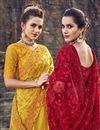 photo of Wedding Function Wear Designer Net Fabric Embroidered Mustard Saree