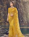 image of Mustard Designer Net Fabric Wedding Function Wear Embroidered Saree
