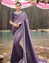 image of Designer Fancy Fabric Wedding Function Wear Embroidered Purple Saree