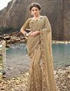 image of Beige Net Fabric Designer Wedding Function Wear Embroidered Saree