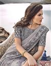 photo of Wedding Function Wear Grey Designer Embroidered Saree In Fancy Fabric
