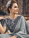 photo of Designer Grey Wedding Function Wear Embroidered Fancy Fabric Saree